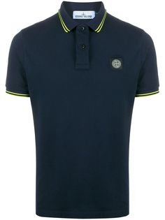Stone Island embroidered patch polo shirt