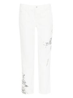 Белые джинсы с узорами и аппликацией Ermanno Scervino