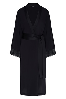 Черный шелковый халат La Perla