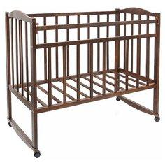 Кроватка Волжская деревообрабатывающая компания Кр1-02м (качалка), на полозьях темный орех