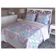 Постельное белье 2-спальное с евро простыней Текстильная симфония Вензель, поплин розовый/голубой