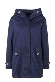 Синяя хлопковая куртка с капюшоном Trussardi Jeans