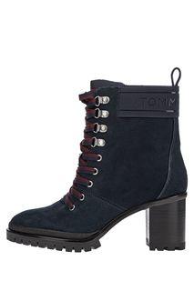 Синие замшевые ботинки на устойчивом каблуке Tommy Hilfiger