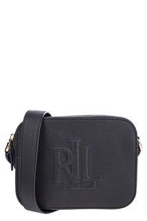 Кожаная сумка с двумя отделами и монограммой бренда Lauren Ralph Lauren