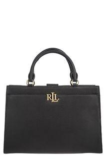 Черная кожаная сумка с карманами Lauren Ralph Lauren
