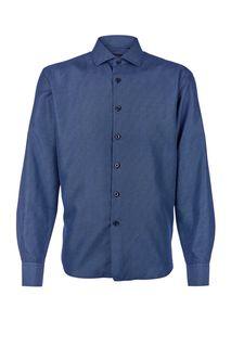 Синяя хлопковая рубашка с длинными рукавами Conti Uomo