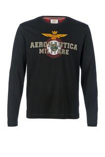 Черная футболка с длинными рукавами Aeronautica Militare