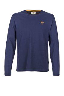Синяя хлопковая футболка с длинными рукавами Aeronautica Militare