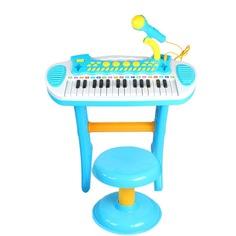 Детский синтезатор Babybjörn 3132C в наборе с микрофоном, 31 клавиша, голубой