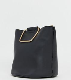 Черная сумка-мешок с металлическими ручками золотистого цвета Pimkie-Черный