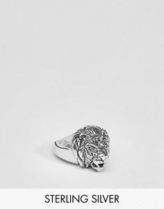 Серебряное кольцо со львом ASOS DESIGN-Серебряный