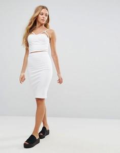 Джинсовая юбка-карандаш Parisian-Белый