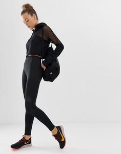 Черные спортивные леггинсы с сетчатыми вставками Missguided-Черный