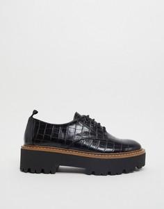 Черные туфли на плоской подошве Stradivarius-Черный