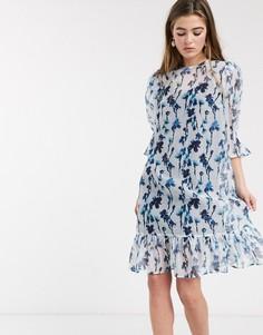 Свободное платье миди с цветочным принтом и баской Lost Ink-Синий