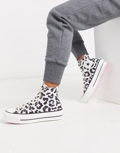 Высокие кеды на платформе с леопардовым принтом Converse Chuck Taylor-Розовый