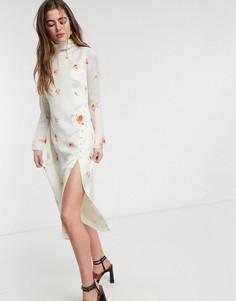 Платье миди с высоким воротом и принтом роз Lost Ink-Кремовый