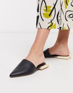 Черные туфли на плоской подошве с острым носом и мраморным каблуком ASOS DESIGN-Черный