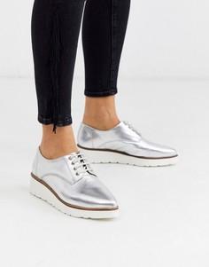 Серебристые кожаные туфли на плоской подошве с острым носом и шнуровкой ASOS DESIGN-Серебряный