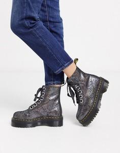 Кожаные ботинки с эффектом металлик Dr Martens-Серебряный