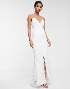 Кружевное свадебное платье на бретельках ASOS EDITION-Белый