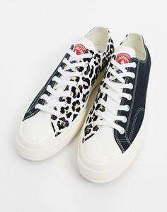 Кеды с леопардовым принтом и логотипом Converse Chuck 70 Ox-Коричневый