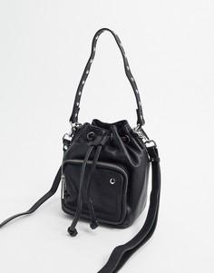 Черная кожаная сумка-мешок Nunoo-Черный