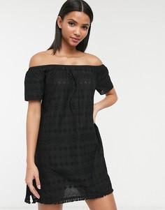 Черное пляжное платье с вышивкой ришелье Accessorize-Черный