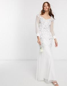 Белое свадебное платье макси со спущенными плечами Maya-Белый