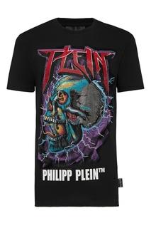 Черная футболка с принтом и стразами Philipp Plein