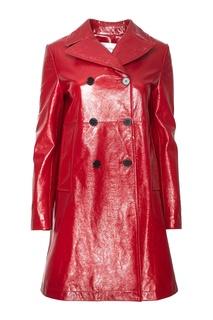 Двубортное пальто из фактурной кожи Valentino