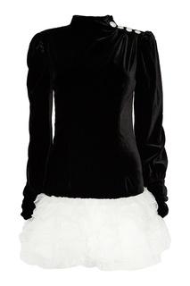 Бархатное платье с воланами Alessandra Rich