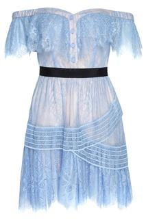 Голубое платье из кружева Self Portrait