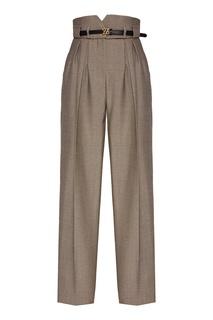 Серые брюки высокой посадки Fendi