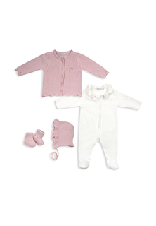Комплект: комбинезон, кофточка, пинетки, шапочка RBC МЛ479004 р.62 крем-розовый