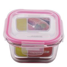 Контейнер стеклянный квадратный 520мл роз ТМ Appetite