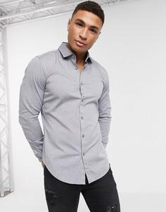 Узкая рубашка с длинными рукавами BOSS Business Rikki-Синий