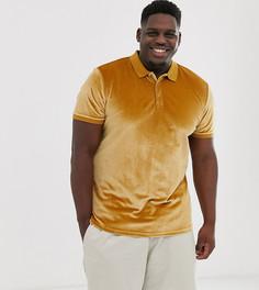 Коричневая велюровая футболка-поло ASOS DESIGN Plus-Коричневый