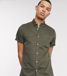 Эластичная приталенная джинсовая рубашка цвета хаки ASOS DESIGN Tall-Зеленый