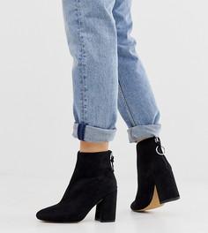 Черные ботинки на высоком блочном каблуке для широкой стопы London Rebel-Черный