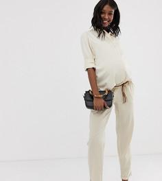 Льняные брюки для беременных с плетеным поясом Mamalicious-Бежевый Mama.Licious