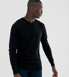 Джемпер из 100% хлопка с V-образным вырезом Brave Soul Tall-Черный