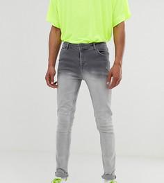 Серые зауженные джинсы с эффектом деграде ASOS DESIGN Tall-Серый