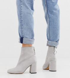 Серые ботинки на высоком блочном каблуке для широкой стопы London Rebel-Серый