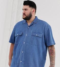 Джинсовая выбеленная oversize-рубашка с двумя карманами и отложным воротником ASOS DESIGN Plus-Синий