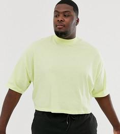 Светло-желтая укороченная oversize-футболка с рукавами до локтя и высоким воротником ASOS DESIGN Plus-Зеленый