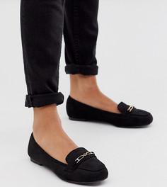 Черные лоферы для широкой стопы New Look-Черный