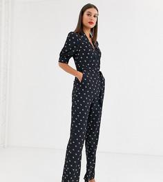 Комбинезон на пуговицах с завязкой на талии и цветочным принтом Fashion Union Tall-Черный
