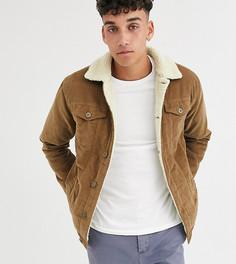 Вельветовая куртка с подкладкой из искусственного меха Le Breve Tall-Коричневый