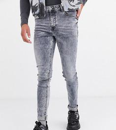 Серые джинсы скинни с эффектом кислотной стирки ASOS DESIGN Tall-Серый